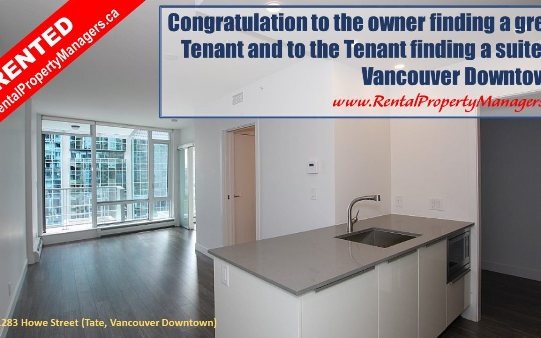 [RENTED] RentalPropertyManagers.ca-Vancouver Downtown New Condo(TATE)