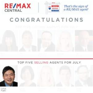 Top 5 Selling Realtor July 2019 & Licensed Property Manager