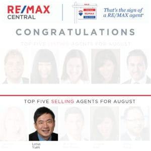 Top 5 Selling Realtor Aug 2019 (Filter) Lotus Yuen