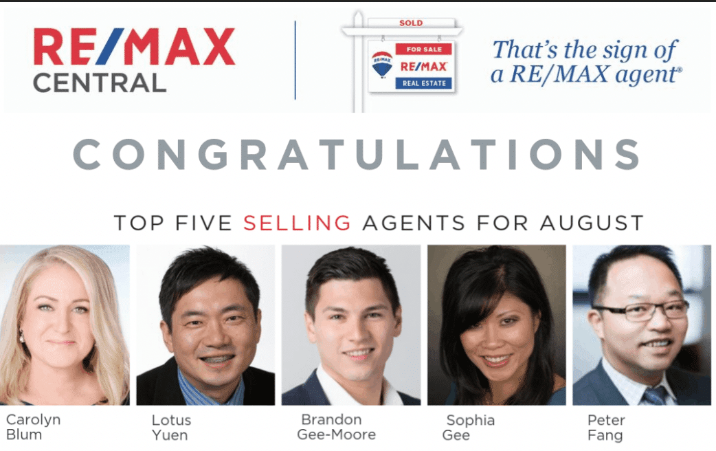 Top 5 REMAX Realtor  Lotus Yuen PREC Aug 2019