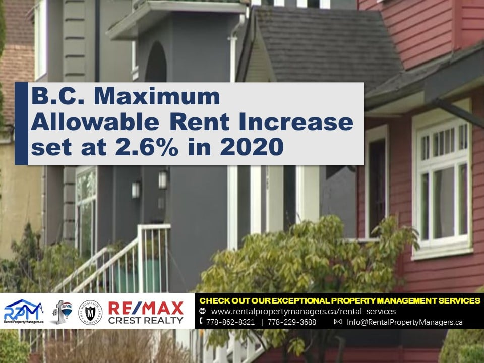 [UPDATE] B.C. Maximum allowable rent increase set at 2.6% in 2020