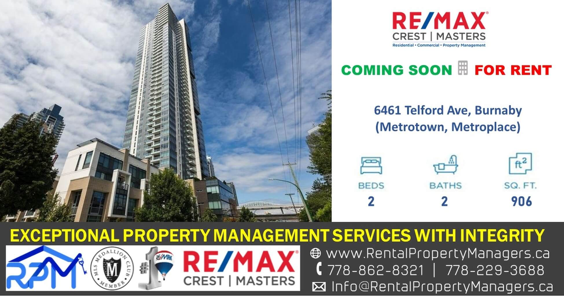 [FOR RENT – COMING SOON] Panoramic View! Metrotown Condo at Metroplace