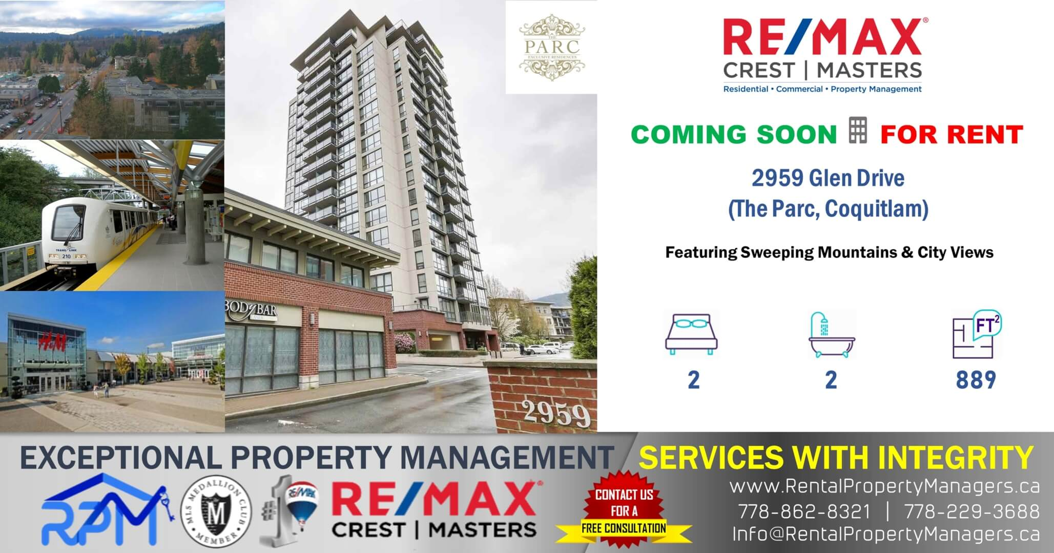 [COMING SOON] 2959 Glen Drive, Coquitlam (The Parc), 2Bedroom+2Bath (889Ft+Balcony)