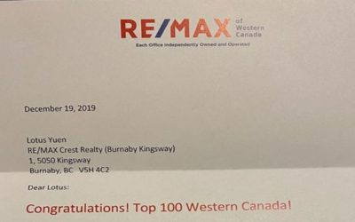 2019 November Top 100 REMAX REALTOR in Western Canada – Lotus Yuen PREC