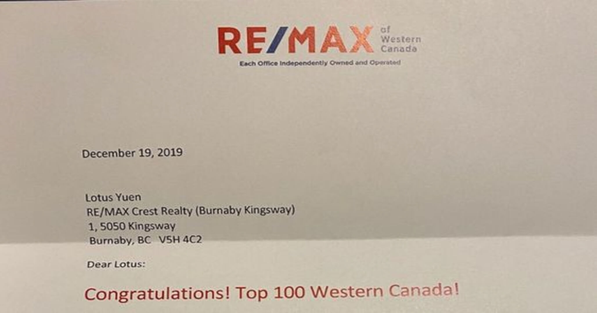 TOP 100 REMAX REALTOR – RE/MAX WESTERN CANADA (Nov 2019)