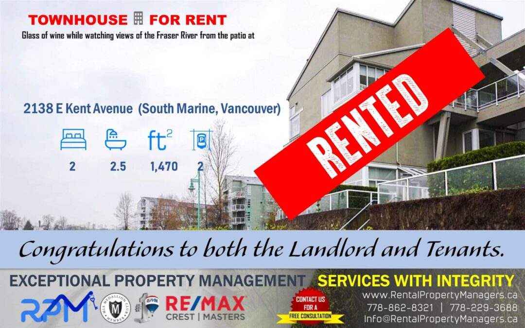 [RENTED]2138 Kent Avenue South E, Vancouver (Captain Walk, South Marine), 2Bedroom+2.5Bath (1,470Ft+Balcony)