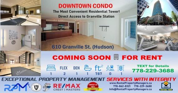 [FOR RENT]610 Granville Street, Vancouver BC (Hudson, Downtown), 1Bedroom, 2Flex, 1Den, 1Bath (787Ft)