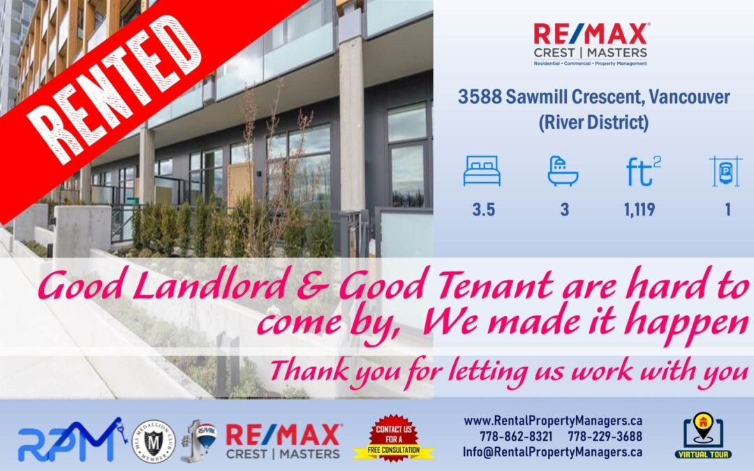 [RENTED]3588 Sawmill Crescent, Vancouver (Avalon 1 East), 3Bedroom+1Den+3Bath (1119Ft+Balcony+Patio)