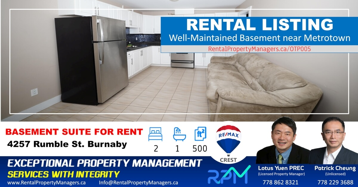[FOR RENT]Basement Suite, 4257 Rumble Street, Burnaby (Burnaby South slope), 2Bedroom+1Bath (500Sq.Ft)