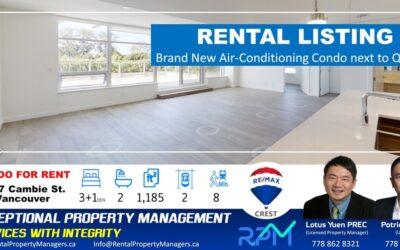 [FOR RENT]5077 Cambie Street, Vancouver (35 Park West), 3Bedroom+1Den+2Bath (1185Ft+550ftBalcony)