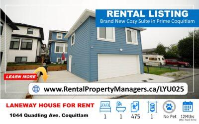 [FOR RENT]Brand New Upper Floor cozy Suite in Prime Coquitlam,  1Bedroom+1Bath (475Ft)