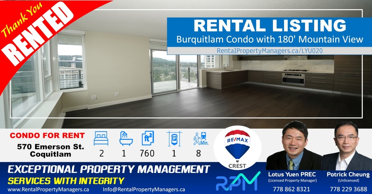 [RENTED] 180' Mountain view! Burquitlam Condo at Uptown2