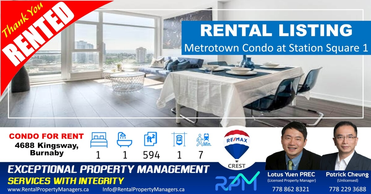 [RENTED] Lake & Mountain View! Metrotown Condo Station Square 1