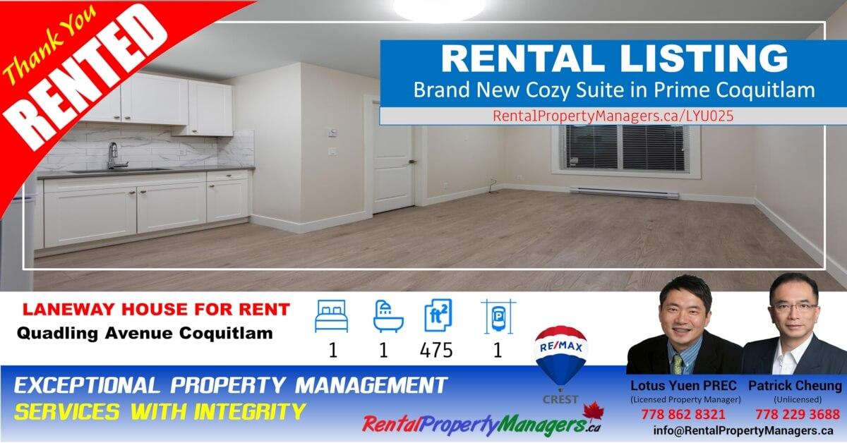 [RENTED]Brand New Upper Floor cozy Suite in Prime Coquitlam,  1Bedroom+1Bath (475Ft)