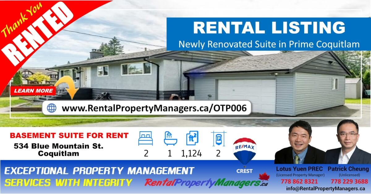 [RENTED] Newly Renovated & Air-Cond Basement Suite in Blue Mountain Coquitlam