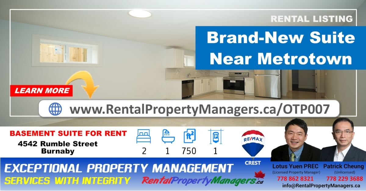 [FOR RENT]Basement Suite, 4542 Rumble Street, Burnaby (Burnaby South slope), 2Bedroom+1Bath (500Sq.Ft)