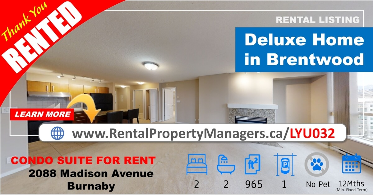 [RENTED] Brentwood Condo in an ideal place for commuting & schooling – 2088 Madison Avenue, Burnaby(Fresco)