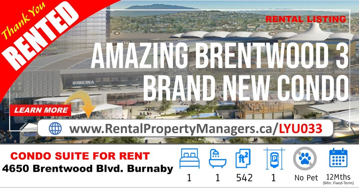 [RENTED] Brand-New Brentwood Condo with Unobstructed Mountain View – 4650 Brentwood Boulevard, Burnaby(Amazing Brentwood Tower3), 1Bedroom