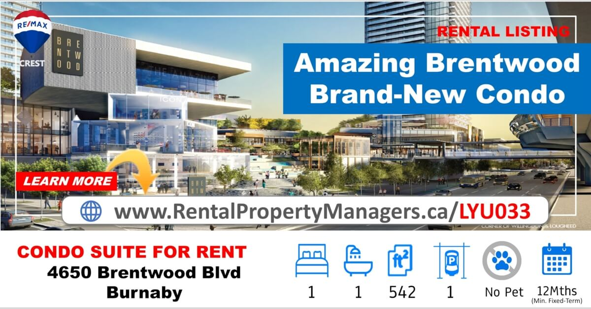 [CONDO FOR RENT] 4650 Brentwood Boulevard, Burnaby(Amazing Brentwood Tower3), 1Bedroom