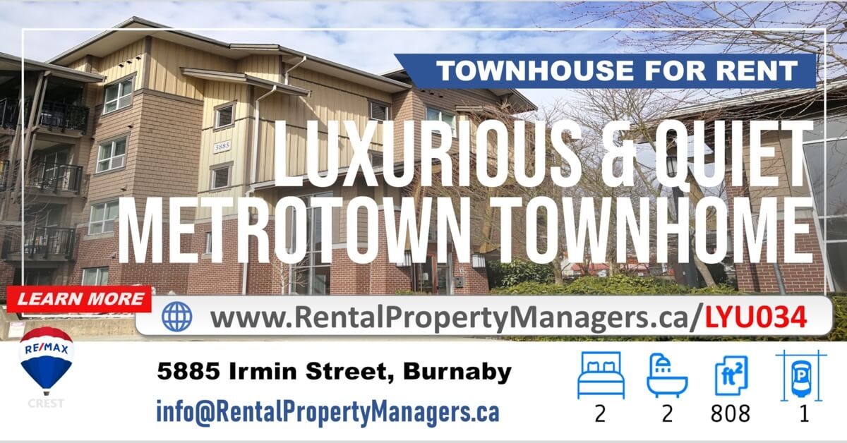 [TOWNHOUSE FOR RENT] 5885 Irmin Street, Burnaby(Macpherson Walk)